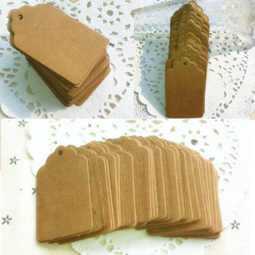 100pcs Blank  Kraft Paper Hang Tags Wedding Party Favor Label Price Gift RDUK 3