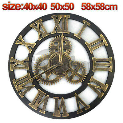 Large Metal and Wooden Industrial French Provincial Antique Round Wall Clock 11