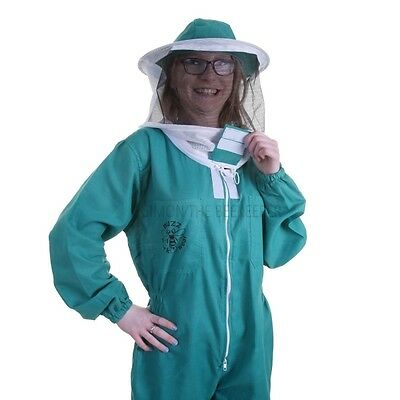[UK] Buzz Basic Beekeeping Bee Suit With Round Veil, Fencing Veil & Gloves Green