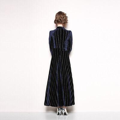 7f5a08b23a43 ... vestito lungo abito scampanato donna elegante blu velluto moda manica  4785 3