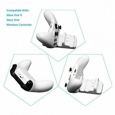 For XBOX ONE Controller Dual Charging Dock Station Charger White + 2 Battery USA 2