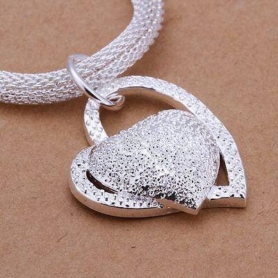 925 Fashion Silver Charm Heart Pendant Beautiful women Necklace JEWELRY cute 2