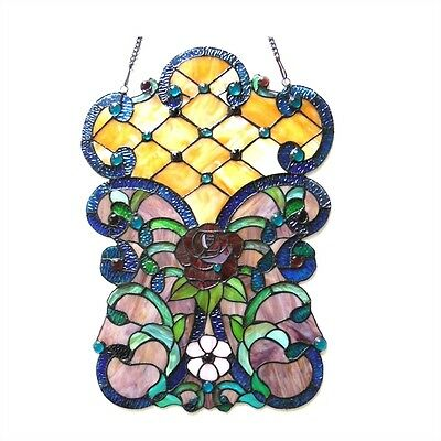 ~LAST ONE THIS PRICE~   Stained Glass Victorian Window Panel 16 Wide x 24 Tall 2