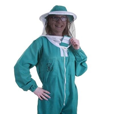 BUZZ BASIC Beekeepers Beekeeping Suit with Fencing Veil and Round Veil - Green 3