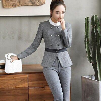 2 sur 4 élégant Costume ensemble femme gris noir veste manches longues  pantalon w9033 47a1f5e0c03b