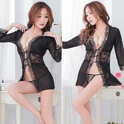 Sexy Lingerie Reizwäsche Negligee Nachtkleid Kleid String XS 32 S 34 36 NEU 4