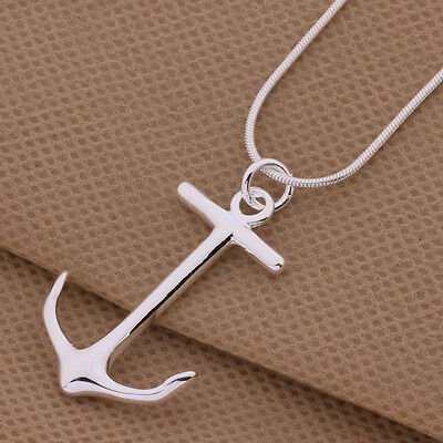 925 cute Silver Fashion Charms Anchor pendant Necklace Jewelry women lady gift 2