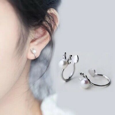 Womens Ear Cuff Earrings Wrap Fashion Clip On Punk Rock Cuffs Fake Stud Silver 12