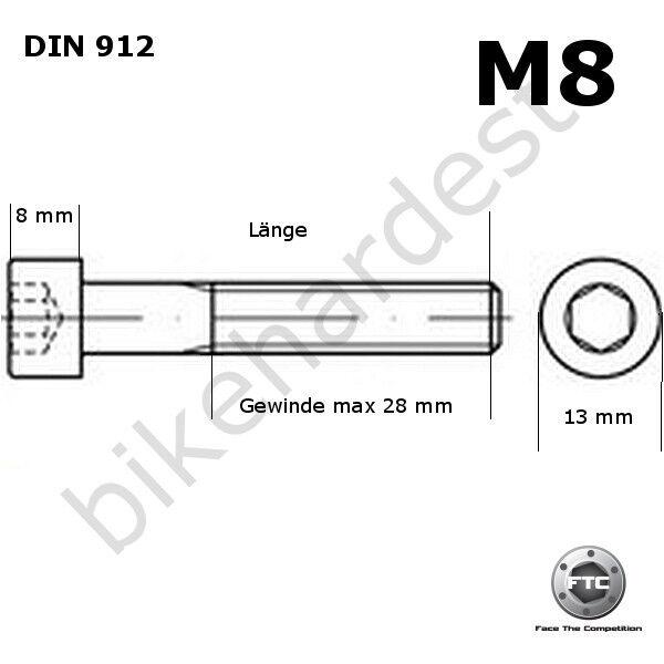 Titanschraube M8 x 20-35 Sechskant mit Bund DIN 6921 Gr5 Gold