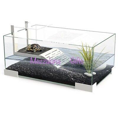 Ciano Tartarium 40 60 & 80 Turtle Terrapin Reptile Glass Turtles Tank with Ramp 2