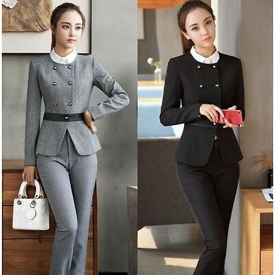 f92686858a5d ... Elegante Tailleur completo donna nero grigio giacca manica lunga  pantaloni w9033 4