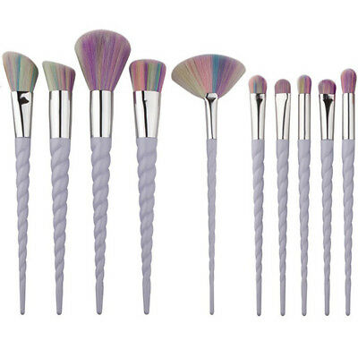 10Pcs Unicorn Eyeliner Face Make Up Brush Thread Cosmetic Flat Brushes Tool Set