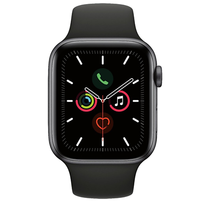 Apple Watch Series 5 44mm Space Gray Aluminum Black Band GPS MWVF2LL/A 2