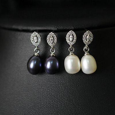 Boucles d/'Oreilles Perle Culture Blanc Argent Massive 925 Ovale Goutte TZ2 11
