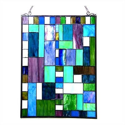 Matching PAIR Stained Glass Tiffany Style Window Panels Arts & Crafts 18 x 24