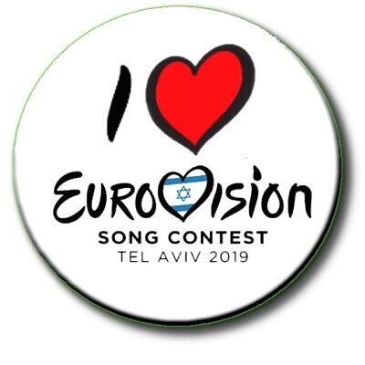 """Eurovision Song Contest Party Badges/ Eurovision Sweepstake~ 25 Mm/ 1 """" 7"""