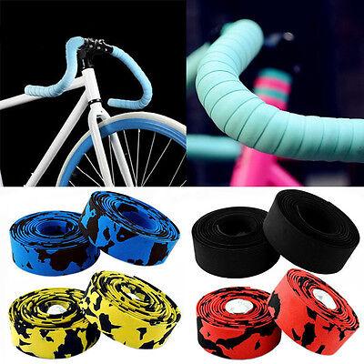 2X MTB Bike Cycling Road Sport Gym Bicycle Cork Handlebar Rubber Tape Wrap+2 Bar 8