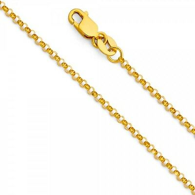 14K Real Yellow Gold 1.2mm Oval Angled Cut Rolo Cable Chain 16/'/'-22/'/' For Woman