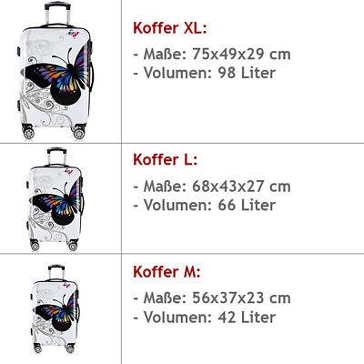 Monzana® Hartschalenkoffer Butterfly Trolley Reisekoffer Koffer M L XL 4 Rollen 2