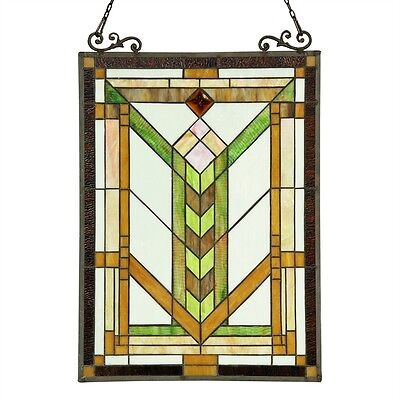 PAIR Stained Glass Tiffany Style Window Panels Mission Arts & Crafts 18X24 2