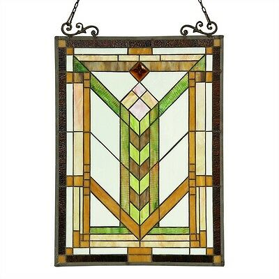 "Stained Glass Tiffany Style Window Panel Mission Arts & Crafts Design 18"" x 24"" 2"