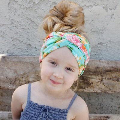 Baby Girls Turban Knot Twist Headband Hair band Head Wrap Cute Kids Floral Plain 7