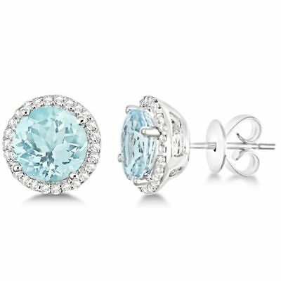 0.80ct Diamond Created Square Round Halo Stud Earrings 14k White Gold Plated 4