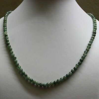 "Genuine 100% Natural JADE Type A Beautiful Oily Green Jadeite Necklace 5.2mm 19"" 4"