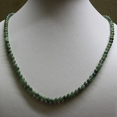 "Genuine 100% Natural Type A Jadeite JADE Beautiful Oily Green Necklace 5.2mm 19"" 4"