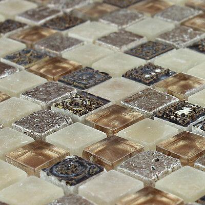 Muster Glas Naturstein Mosaik Fliesen Braun Beige Mix Eur 1 90