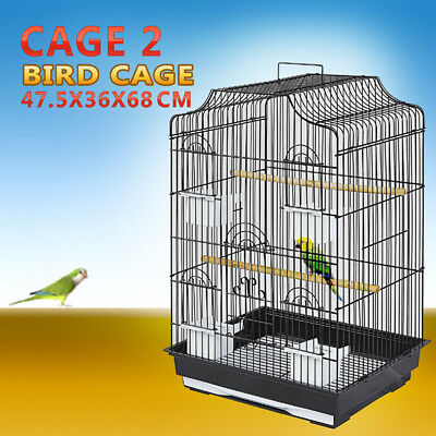 Pet Bird Cage Parrot Aviary Canary Budgie Finch Perch Black Portable w/ Perches 10