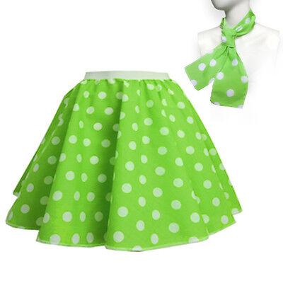ROCK N ROLL Fancy Dress Grease 1950s Fancy Dress SKIRT & SCARF COSTUME all Size 6