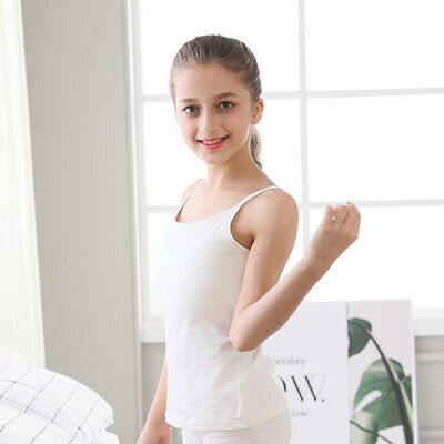 5 x Girls 100% Cotton Cami Vests White 1.5-2 2-3 3-4 5-6 7-8 9-10 11-12 Years 6