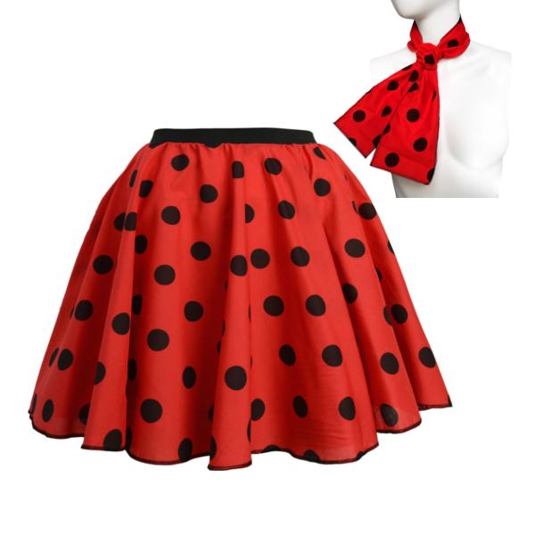 ROCK N ROLL Fancy Dress Grease 1950s Fancy Dress SKIRT & SCARF COSTUME all Size 8
