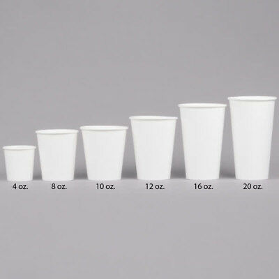 1000 Ct. 20 Oz. Eco Friendly White Paper Hot Tea Coffee Cups Disposable No Lids 6
