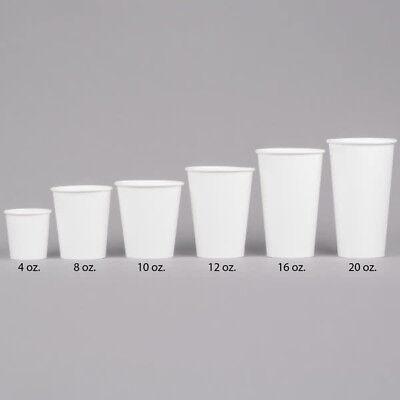50 Ct. 8 Oz. Eco Friendly White Paper Hot Tea Coffee Cups Disposable No Lids 6
