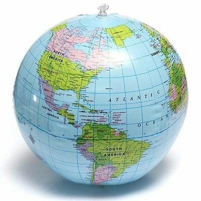 38cm Inflatable World Globe Earth Teaching Geography Map Beach Ball Kids Toy 3