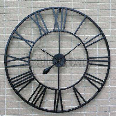 Large Metal and Wooden Industrial French Provincial Antique Round Wall Clock 9