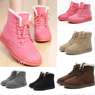 Winter Womens Snow Fur Lined Lace Up Warm Flat High Ankle Boots Round Toe Shoes 2