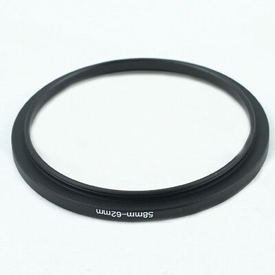 58-62mm 58mm to 62mm Step-Up Metal Filter Ring Adapter Black 58-62