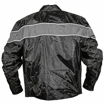 Black//Black, X-Small NexGen Mens Combo Leather//Nylon//Mesh Sport Bike Jacket