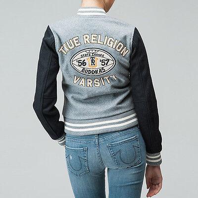 031204ec03 ... New True Religion Jeans $298 Grey Buddha League Varsity Jacket Sz Xs  Extra Small 3