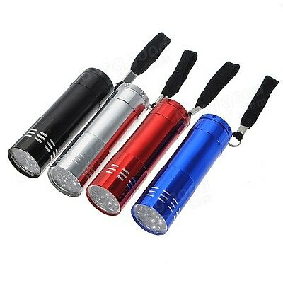 ULTRA BRIGHT 9 LED POWERFUL SMALL CAMPING TORCH FLASH LIGHT LAMP LIGHTS Random! 9