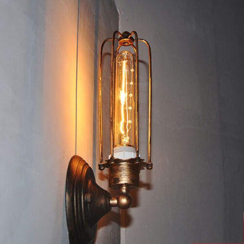 INDUSTRIAL METAL CAGE Rustic Long Vinage Lights Wall Sconce Fixtures ...