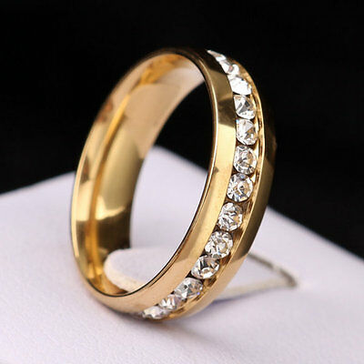 316L Stainless Steel Wedding Silver/Gold Band Men Women Couple CZ Ring Size 5-13 8