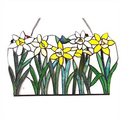 "Daisy Floral Design Tiffany Style Stained Cut Glass Window Panel  23"" L x 14"" H 2"