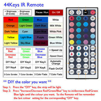 24/44 Key IR Remote Controller Box AC/DC 12V Fr LED RGB 3528 5050 Light Strip US