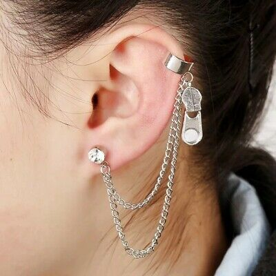 Womens Ear Cuff Earrings Wrap Fashion Clip On Punk Rock Cuffs Fake Stud Silver 6