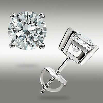 2.00 CT Round Earrings 14K Solid White Gold Basket Studs Brilliant Screw Back 8