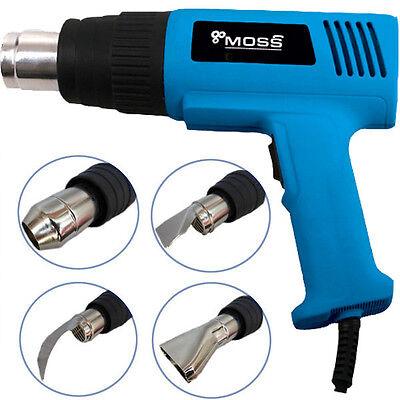 2000W Hot Air Heat Gun Dual Temperature Paint Stripper DIY Tool + 4 Nozzle UK 2
